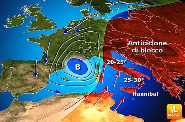 METEO: PASQUA AFRICANA con ANTICICLONE HANNIBAL, oltre 30°C al Sud